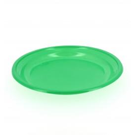 Plastic Plate Flat Green 20,5 cm (10 Units)