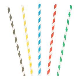 Paper Straw Straight Striped Ø0,6cm 20cm (250 Units)