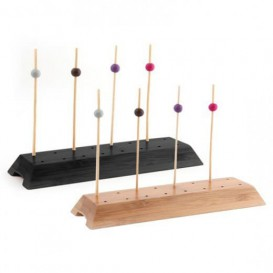 Bamboo Food Pick Holder Tray Black 20x6x2cm (12 Units)
