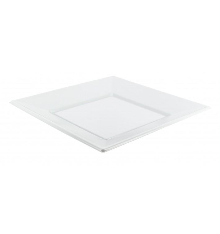 Plastic Plate PS Square shape Flat White 23 cm (750 Units)