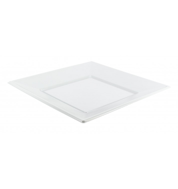 Plastic Plate PS Square shape Flat White 17 cm (750 Units)