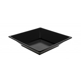 Plastic Plate Deep Square shape Black 17 cm (360 Units)