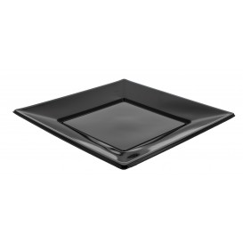 Plastic Plate Flat Square shape Black 23 cm (5 Units)