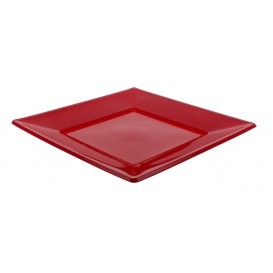 Plastic Plate Flat Square shape Burgundy 23 cm (25 Units)