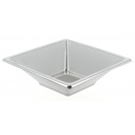 Plastic Bowl PS Square shape Silver 12x12cm (5 Units)