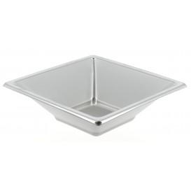 Plastic Bowl PS Square shape Silver 12x12cm (300 Units)