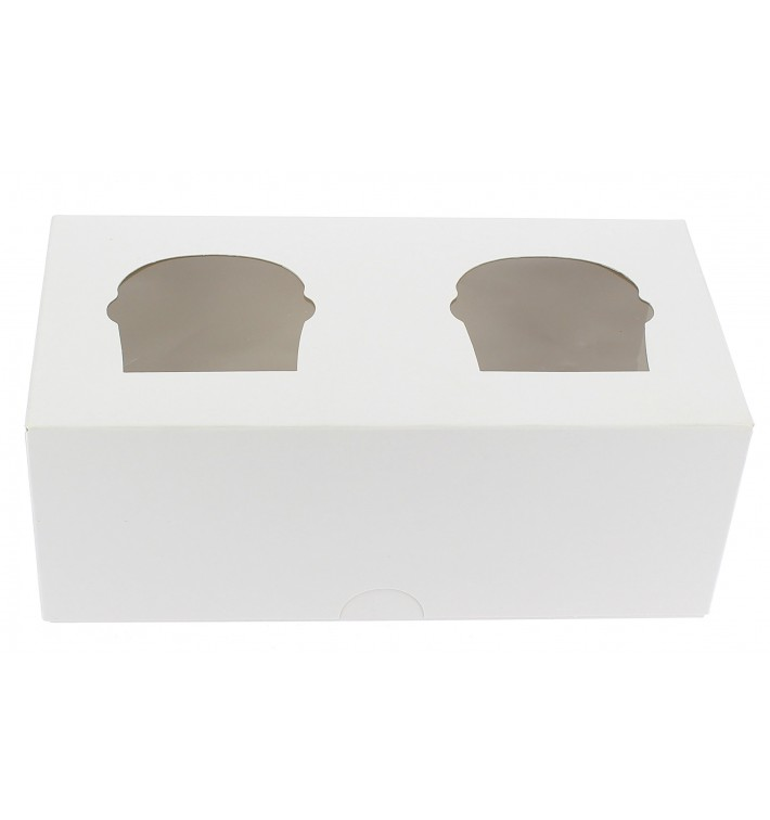 Paper Cupcake Box 2 Slots White 19,5x10x7,5cm (160 Units)