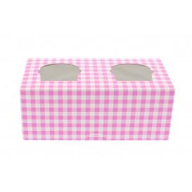 Paper Cupcake Box 2 Slot Pink 19,5x10x7,5cm (20 Units)