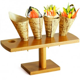 Bamboo Serving Cone Holder 5 slots (10 Units)