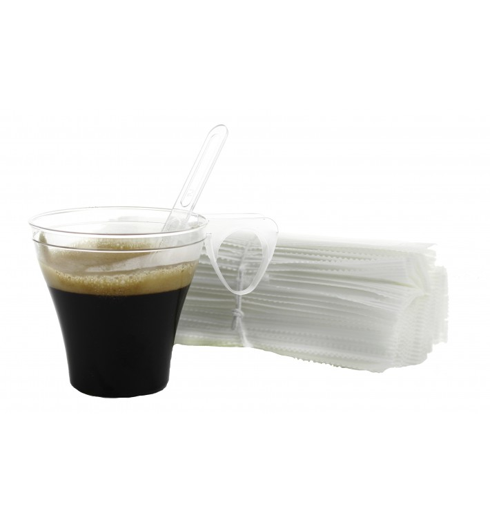 Plastic Coffee Stirrer PS Wrapped Clear 10,5cm (2500 Units)