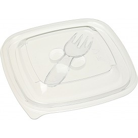 Plastic Lid for Bowl with Plastic Fork 125x125mm (50 Units)
