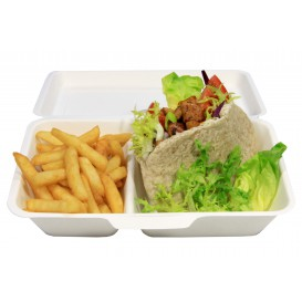 Sugarcane Hinged Burger Container 24,0x12,5x6,5cm (50 Units)