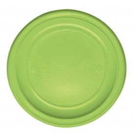 Plastic Plate PS Flat Lime Green Ø22 cm (30 Units)