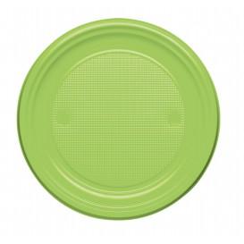 Plastic Plate PS Flat Lime Green Ø17 cm (50 Units)