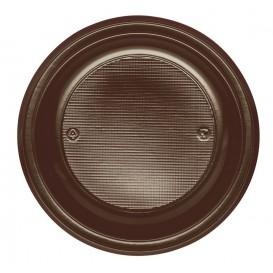 Plastic Plate PS Flat Chocolate Ø22 cm (30 Units)