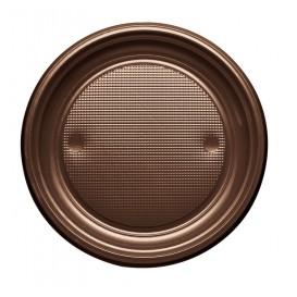 Plastic Plate PS Flat Chocolate Ø17 cm (1100 Units)