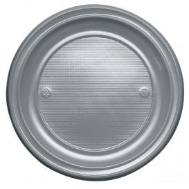 Plastic Plate PS Flat Silver Ø22 cm (30 Units)