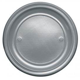 Plastic Plate PS Flat Silver Ø22 cm (780 Units)