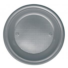 Plastic Plate PS Deep Silver Ø22 cm (600 Units)