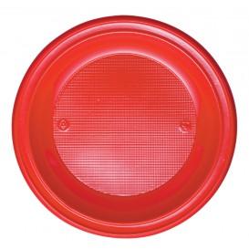 Plastic Plate PS Deep Red Ø22 cm (30 Units)