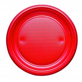 Plastic Plate PS Flat Red Ø17 cm (1100 Units)
