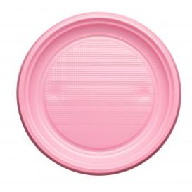 Plastic Plate PS Flat Pink Ø17 cm (50 Units)