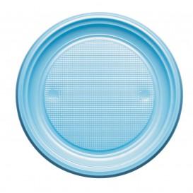 Plastic Plate PS Flat Light Blue Ø17 cm (50 Units)