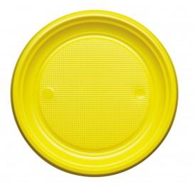 Plastic Plate PS Flat Yellow Ø17 cm (1100 Units)