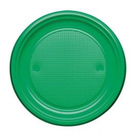 Plastic Plate PS Flat Green Ø17 cm (50 Units)