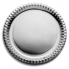 "Paper Plate Round Shape ""Party"" Silver Ø29cm (60 Units)"