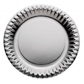 "Paper Plate Round Shape ""Party"" Silver Ø23cm (300 Units)"