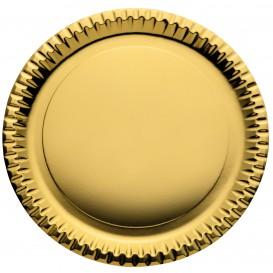 "Paper Plate Round Shape ""Party"" Gold Ø29cm (60 Units)"