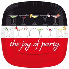 """Paper Plate Square Shape """"Joy of Party"""" 23cm (8 Units)"""