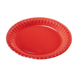"Paper Plate Round Shape ""Party"" Red 18cm (300 Units)"
