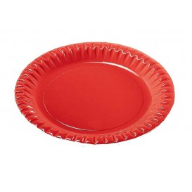 "Paper Plate Round Shape ""Party"" Red 23cm (300 Units)"