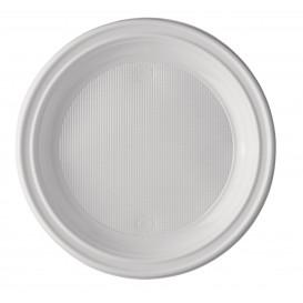 Plastic Plate PS Flat White 20,5 cm (1000 Units)