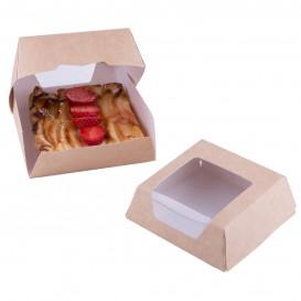 Paper Cake Box with Window Kraft 14x14x5cm (25 Units)