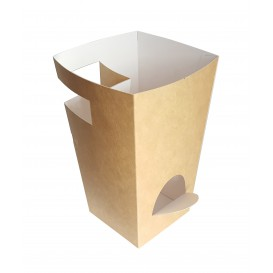 Paper Food Box for Churros with Cup Holder Kraft 7,8x7,8x17,9cm (500 Units)