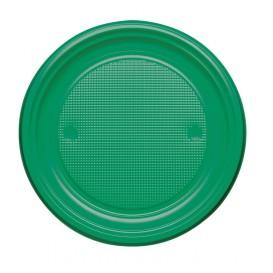 Plastic Plate PS Flat Green Ø22 cm (30 Units)