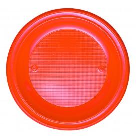Plastic Plate PS Deep Orange Ø22 cm (30 Units)