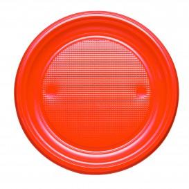 Plastic Plate PS Flat Orange Ø17 cm (50 Units)
