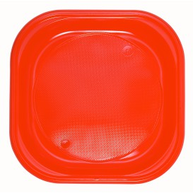 Plastic Plate PS Square shape Orange 20x20 cm (30 Units)