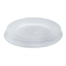 Plastic Lid with Straw Slot PS White Flat Ø7,2cm (100 Units)