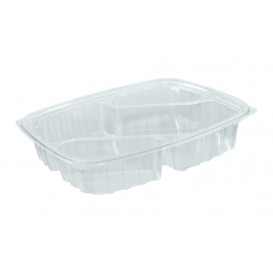 "Plastic Deli Container OPS ""ClearPac"" 3 Compartments Diagonal Clear 887ml (252 Units)"