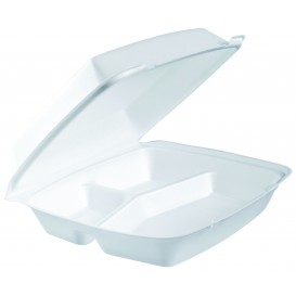 Foam Lunch Box 3 Compartments White 2,40x2,35cm (200 Units)