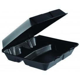 Foam Lunch Box 3 Compartments Black 2,40x2,35cm (200 Units)