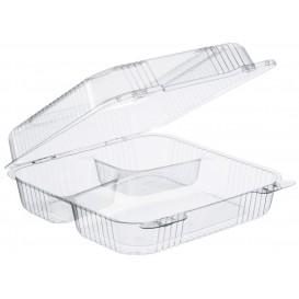 """Plastic Hinged Deli Container OPS 3 Compartments """"StayLock"""" Clear 1120ml (200 Units)"""