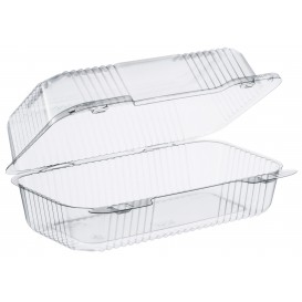 """Plastic Hinged Deli Container OPS """"StayLock"""" Clear 878ml (125 Units)"""