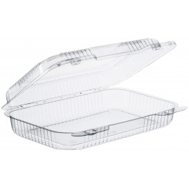 """Plastic Hinged Deli Container OPS """"StayLock"""" Clear 991ml (125 Units)"""