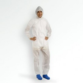 "Disposable Plastic Coverall ""TST"" PP Hood Zipper 35g Size L (50 Units)"